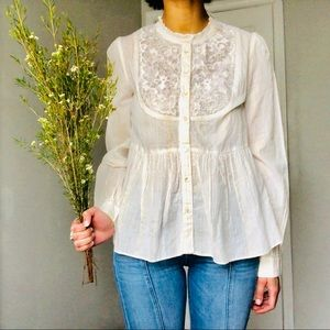 ANTHROPOLOGIE: cream gold, blouse, small